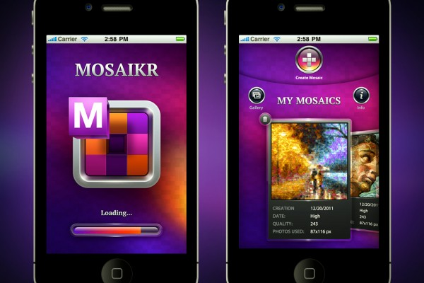 Mozaikr app screen
