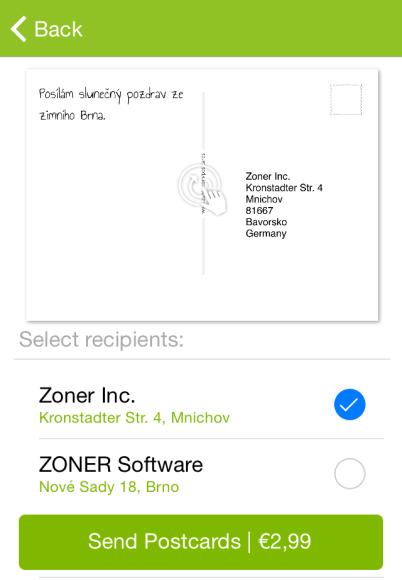 Zoner Postcards iOS 4 - adresa