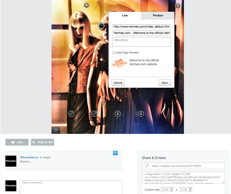 Stipple app ukazka editace