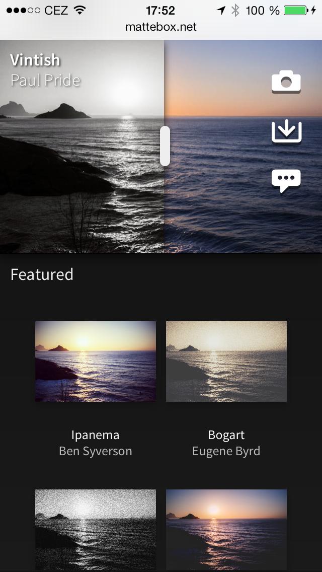 Mattebox app foto filtry online