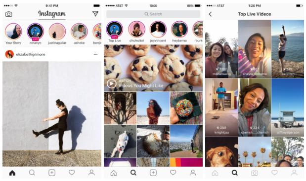 Instagram živé vysílání